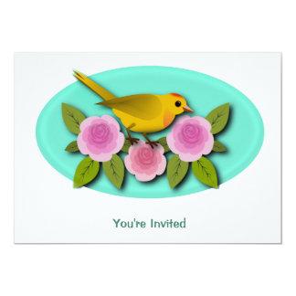 Oval amarelo das peônias e do Aqua do rosa do Convite 12.7 X 17.78cm