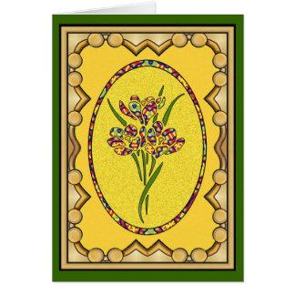 Oval com flores Stenciled - 04 Cartão Comemorativo
