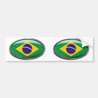 Oval de vidro da bandeira de Brasil Adesivo Para Carro