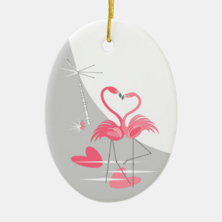 Oval do ornamento da lua do amor do flamingo