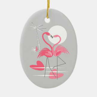 Oval do ornamento do texto do amor do flamingo
