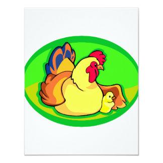 oval verde da galinha e do pintinho convite personalizado