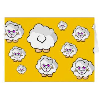 ovelhas amarelo cartão comemorativo