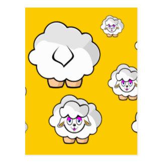 ovelhas amarelo cartão postal