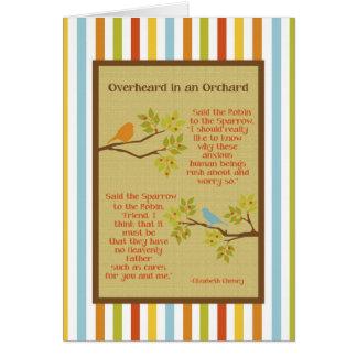 """""""Overheard em um cartão do pomar"""" (pisco de peito"""