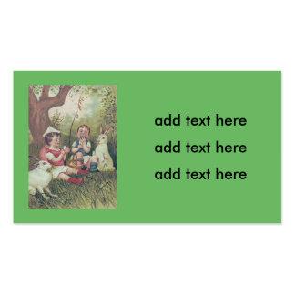 Ovo colorido cesta do coelhinho da Páscoa das Cartão De Visita