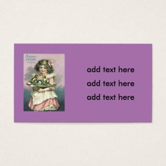 Ovo colorido da cesta da páscoa da menina pintinho cartão de visitas
