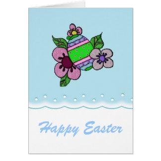 Ovo da páscoa com cumprimentos das flores cartão comemorativo