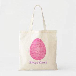 Ovo da páscoa cor-de-rosa bonito bolsa de lona