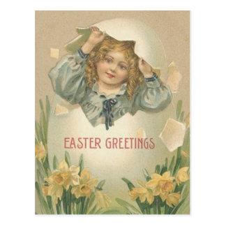 Ovo da páscoa de Jonquil do Daffodil da menina do Cartão Postal