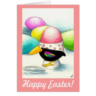 Ovo da páscoa engraçado do corvo cartão comemorativo