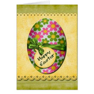 Ovo da páscoa feliz das flores cartão