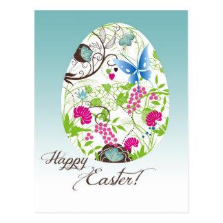 Ovo da páscoa floral Frilly Cartão Postal