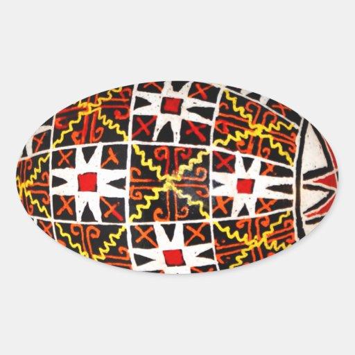 Ovo da páscoa ucraniano adesivos em formato oval