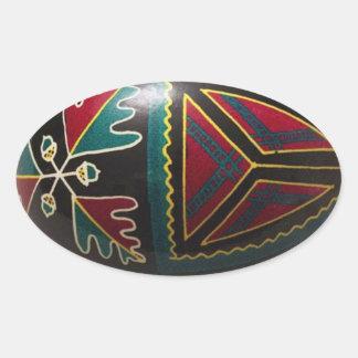 Ovo da páscoa ucraniano pintado mão adesivos em formato ovais