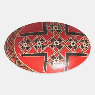Ovo da páscoa ucraniano pintado mão adesivos em formato oval