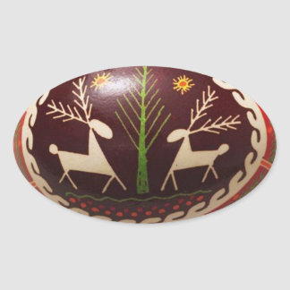 Ovo da páscoa ucraniano pintado mão adesivos oval