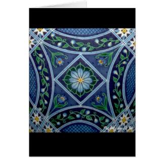 Ovo da páscoa ucraniano Pysanka da avestruz azul d Cartão