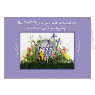 Ovo das bênçãos da páscoa nas flores, religiosas cartão comemorativo