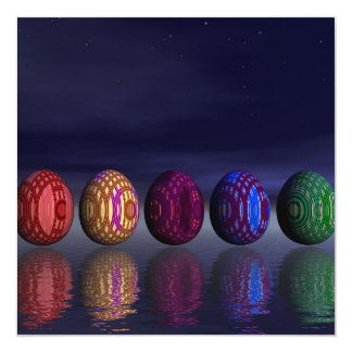 Ovos coloridos para a páscoa - 3D rendem Convite Quadrado 13.35 X 13.35cm