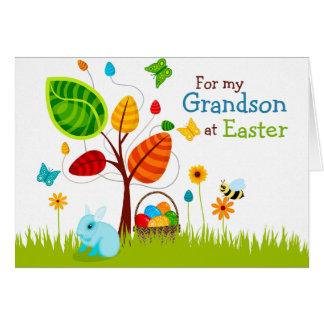 Ovos da árvore do cartão de páscoa para o neto