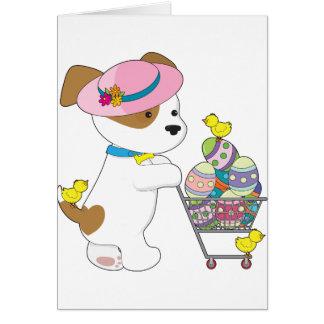 Ovos da páscoa bonitos do cão cartão comemorativo