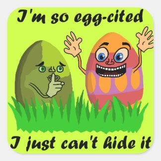 Ovos da páscoa bonitos engraçados adesivo quadrado