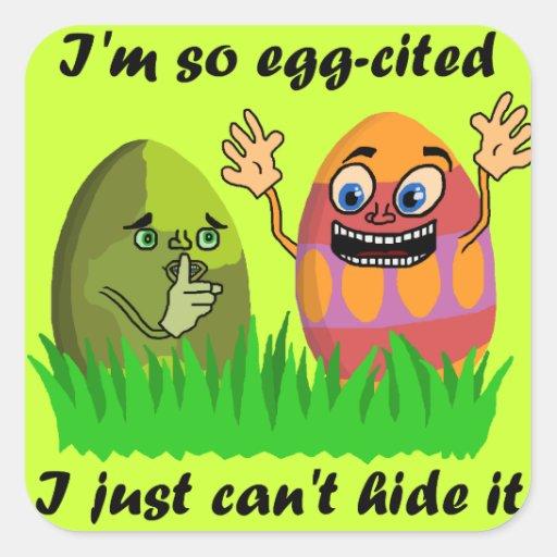 Ovos da páscoa bonitos engraçados adesivos quadrados