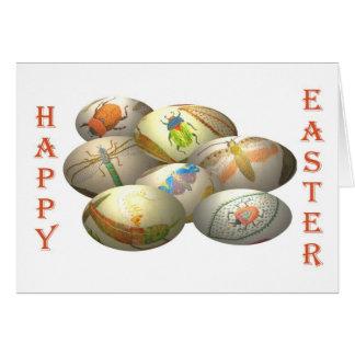 Ovos da páscoa bordados cartão comemorativo