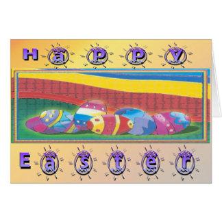Ovos da páscoa coloridos cartão comemorativo
