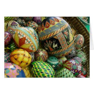 Ovos da páscoa de Pysanky Cartão Comemorativo