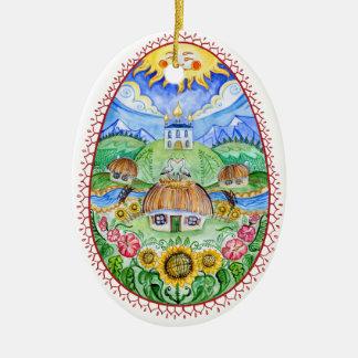 Ovos da páscoa do ucraniano de Pysanky Ornamento De Cerâmica Oval
