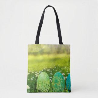 Ovos da páscoa em verdes e em azuis do primavera bolsas tote