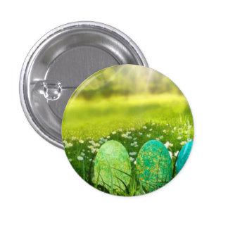 Ovos da páscoa em verdes e em azuis do primavera bóton redondo 2.54cm