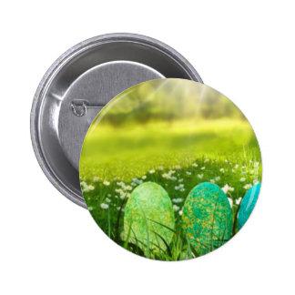 Ovos da páscoa em verdes e em azuis do primavera bóton redondo 5.08cm