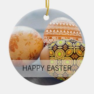 Ovos da páscoa pintados rústicos ornamento de cerâmica