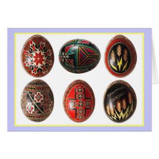 Ovos da páscoa ucranianos pintados mão cartão comemorativo