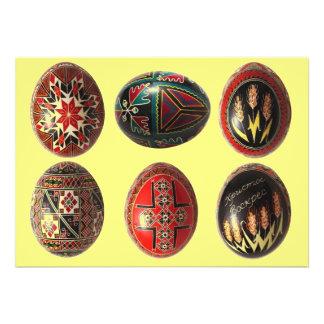 Ovos da páscoa ucranianos pintados mão customizáve convites