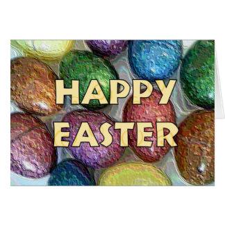 Ovos do brilho do felz pascoa cartão comemorativo