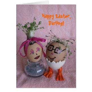Ovos românticos do casal de Eggmen da páscoa com Cartão Comemorativo