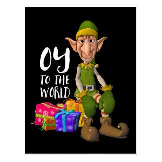 Oy ao Natal engraçado do duende do mundo Cartão Postal