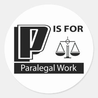 P é para o trabalho do Paralegal Adesivos Em Formato Redondos