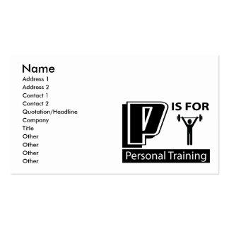 P é para o treinamento pessoal cartões de visitas