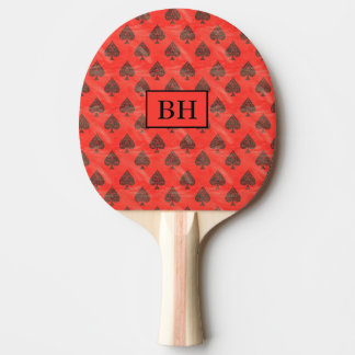 Pá vermelha de Pong do sibilo da pá do monograma Raquete Para Ping Pong