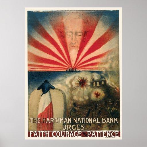 Paciência da coragem da fé de Harriman National Ba Posters