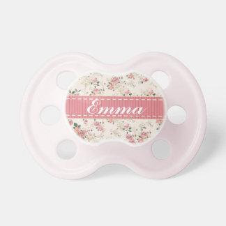 Pacifier cor-de-rosa floral do nome do bebê do chupeta para bebê
