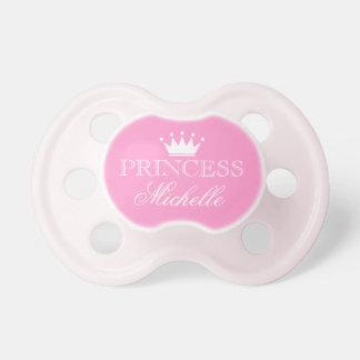 Pacifier personalizado da princesa com nome e coro chupeta de bebê