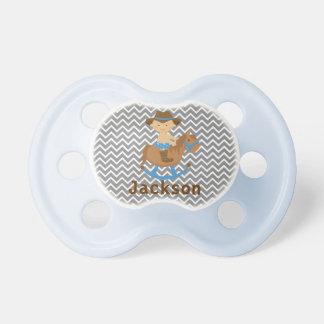 Pacifier personalizado do vaqueiro com nome do beb chupeta de bebê