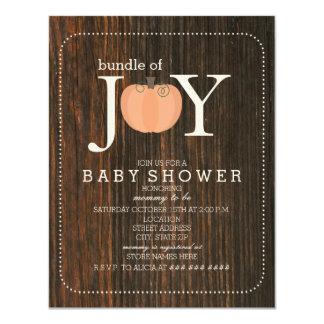 Pacote de bebê inspirado madeira da queda da convite 10.79 x 13.97cm