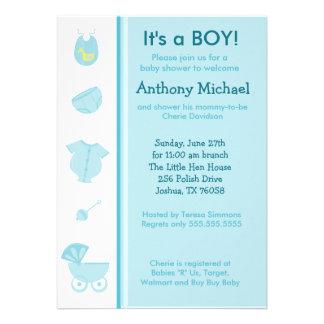 Pacote do convite azul 5x7 do chá do bebé da alegr